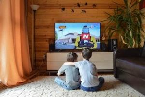 テレビゲームで遊ぶ子供たち
